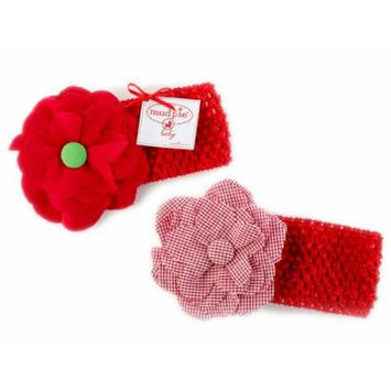 Mud Pie Baby CROCHET FLOWER HEADBAND 130093 Plaid Flower Holiday Collection
