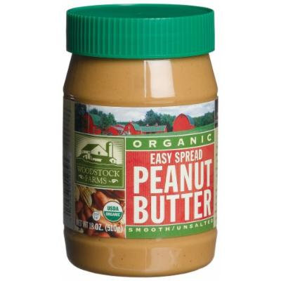 Woodstock Farms Organic Peanut Butter, Easy Spread, Smooth, No Salt, 18-Ounce Jars (Pack of 4)