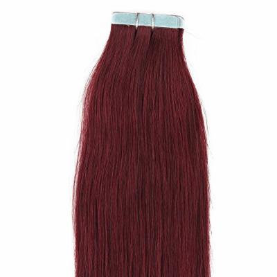 18 inches 100grs,40pcs, 100% Human Tape In Hair Extensions #99J Burgundy Red Wine