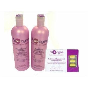 ApHogee Deep Moisture Shampoo + Balancing Moisturizer 16oz + Healthy Hair Vitamins