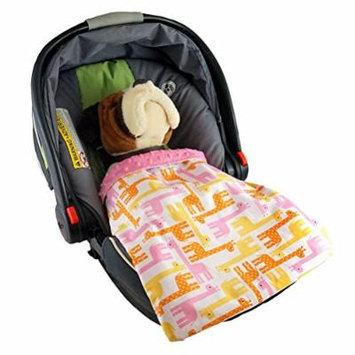 Car Seat Blankie Giraffes (Pink) - Universal Blanket for Car Seats, Beautiful Patterns, Handmade in USA.