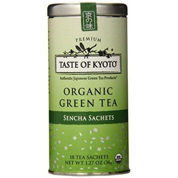 TASTE OF KYOTO Sencha Green Tea Sachets, Premium, 18 Count