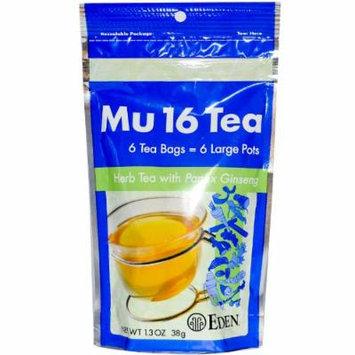 Eden Foods Mu 16 Tea with Panax Ginseng -- 6 Tea Bags