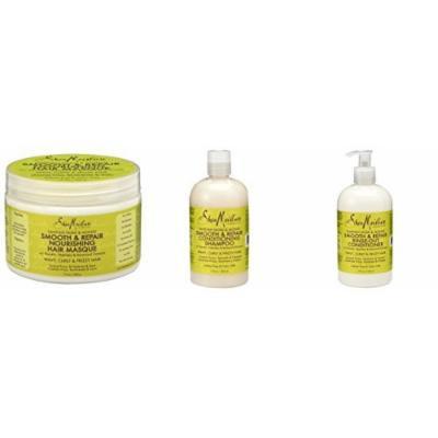 SheaMoisture Tahitian Noni and Monoi Smooth & Repair Shampoo, Conditioner and Nourishing Masque 3 Piece Set