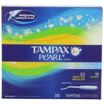 Tampax Pearl Plastic Duopack, Regular/super, Unscented, 36-Count