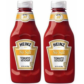 2 Bottles Heinz NO SALT Tomato Ketchup 14 oz. each