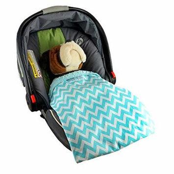Car Seat Blankie Zig Zag (Aqua) - Universal Blanket for Car Seats, Beautiful Patterns, Handmade in USA.