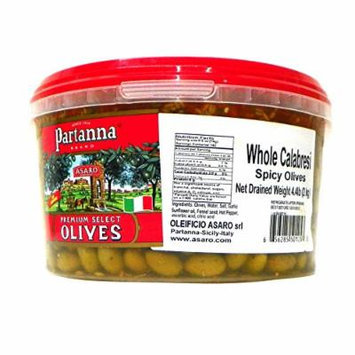 Partanna Premium Select Whole Olives, Spicy Calabresi, 4.4 Pound