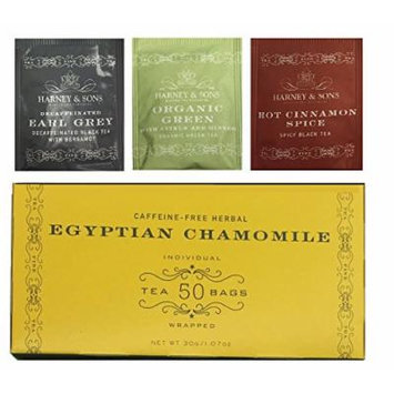 Harney & Sons Egyptian Herbal Chamomile 50 Tea Bags (With Bonus 1 Green Citrus Ginkgo,1 Decaff Earl Grey,1 Cinnamon Spice) Total of 53 Tea Bags