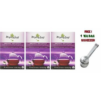 Mighty Leaf Tea , Organic Breakfast ,(with FREE Tea Bag Squeezer) (3 Pack)