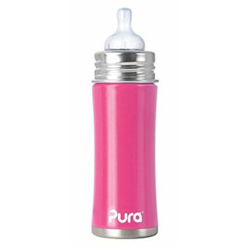 PURA KIKI Stainless Steel Infant Bottle with Natural Vent Nipple, 11 ounce, Pretty Pink
