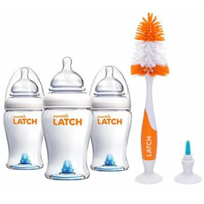 Munchkin Latch Anti-Colic 8 Ounce Baby Bottles with Deluxe Brush