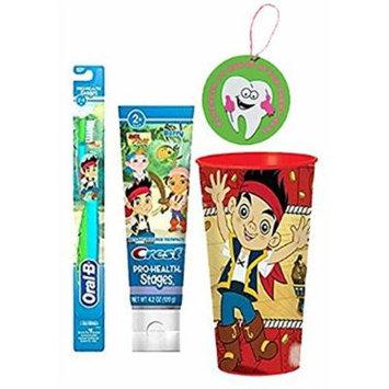 Jake & The Neverland Pirates 3pc Bright Smile Oral Hygiene Set! (1) Jake Soft Manual Toothbrush, Berry Toothpaste & Mouthwash Rinse Cup! Plus Bonus