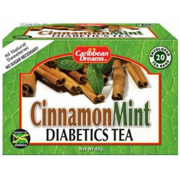 Caribbean Dreams Cinnamon Mint Diabetics Tea naturally sweetned with STevia, 20 tea bags, MADE IN JAMAICA