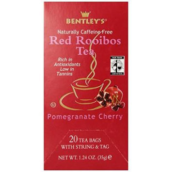 Bentley's Finest Tea Royal Pomegranate Cherry Rooibos Tea Fair Trade Certified Box, 20 Count