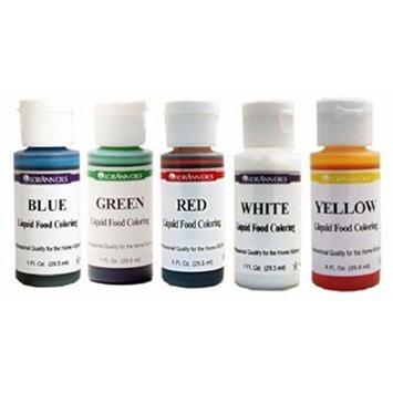 Lorann Oils Liquid Food Coloring - Primary Colors - Set of Five 1 Ounce Bottles
