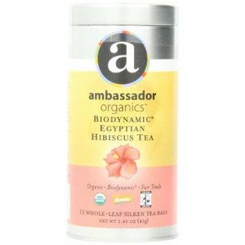 Ambassador Organics Biodynamic Egyptian Hibiscus Tea, 15 Count, 1.45 Ounce Tin