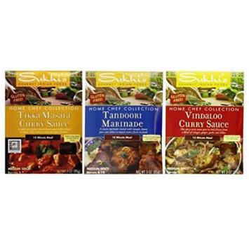 Sukhi's Gourmet Indian Foods Gluten Free Sauce Mix 3 Flavor Variety Bundle: (1) Sukhi's Gluten Free Tikka Masala Curry Sauce MIx, (1) Sukhi's Gluten Free Tandoori Marinade Mix, and (1) Sukhi's Gluten Free Vindaloo Curry Sauce Mix, 3 Oz. Ea. (3 Packets...