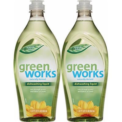 Green Works Natural Dishwashing Liquid Original Scent Value Pack, Pack of Two, 44 fl oz Total (Packaging May Vary)