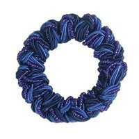 Smoothies Woven Beaded Satin Cord Pony Elastics-Cobalt Blue 01613
