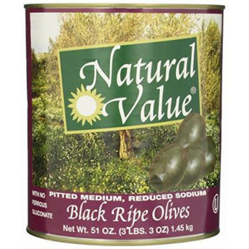 Natural Value Black Ripe Olives with No Ferrous Gluconate Pitted Medium, Reduced Sodium, 51 Ounce