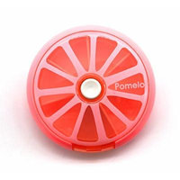 PuTwo Pill Box 7 Day Round Tray Medicine Vitamins Container Storage Dispenser, Pomelo Pink, 2.89 Ounce