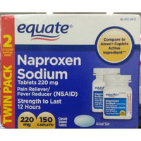 Naproxen Sodium, 220mg, 150 Caplets (Two 75ct x 2 Bottles in TwinPack), By Equate, Compare to Aleve Caplets
