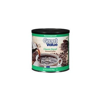 Great Value Classic Decaf Medium Ground Coffee, 33.9 oz(Pack of 4)