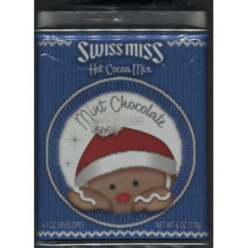 Swiss Miss Hot Cocoa Mix  Mint Chocolate Cocoa in Blue Holiday Tin with Gingerbread Man