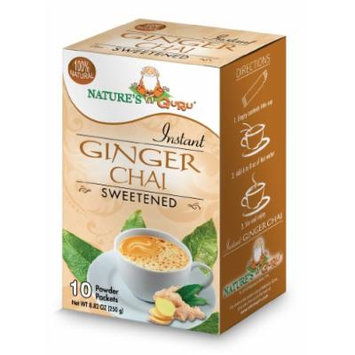 Nature's Guru Instant Ginger Chai Sweetened, 10-count (Pack of 1)