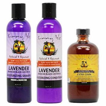 Sunny Isle Moisturizing Lavender Shampoo & Conditioner 8oz & Extra Dark Black Caster Oil 8oz