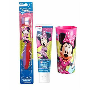 Disney Jr. Minnie Mouse Soft Manual Toothbrush & Crest Stages Anticavity Toothpaste Minnie Berry 4.2 oz Plus Bonus Pink Minnie Mouse Mouth Wash Rinse Cup!