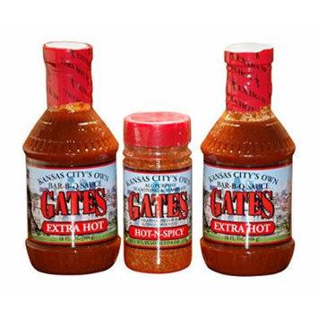 Gates Hot Bundle: 2 Gates Extra Hot Barbecue Sauce 18 Fl Oz., 1 Gates Hot-N-Spicy 6 Oz