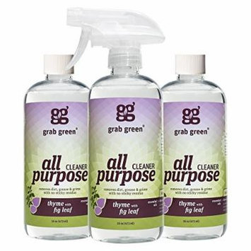 Grab Green Natural All Purpose Cleaner, Thyme with Fig Leaf, 16 Ounce, 3 count