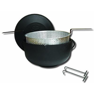 King Kooker 81795592505 Flat Bottom Cast Iron Pot and Lid, 5-Gallon, Aluminum Basket