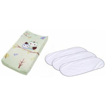 Summer Infant Plush Pals Changing Pad Cover with 3-Pack Waterproof Changing Pad Liners, Owls
