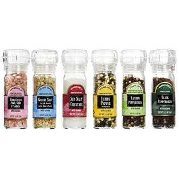 Trader Joe's Set of Six Gourmet Salt & Pepper Set with Built-in Grinder