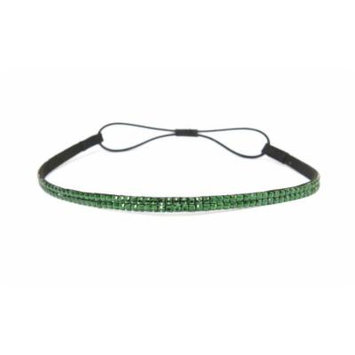 Two Row Bling Rhinestone Headband/ Elastic Stretch/ Rhinestone Hair Band Hair Accessory (Green)