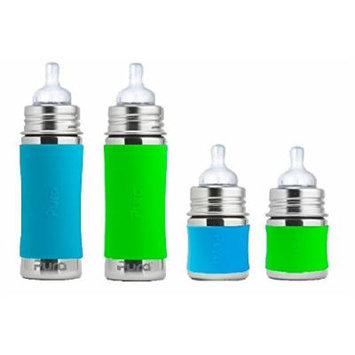 Pura Kiki Stainless Infant Bottle Stainless Steel with Natural Vent Nipple - 4 pack - Boy colors
