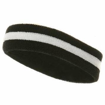 Terry Stripe Headband-Royal White W15S28C
