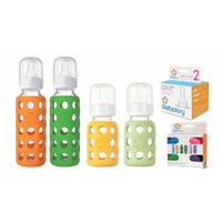 Lifefactory Glass Baby Bottles 4 Pack Starter Kit with Colored Caps (9 oz. & 4 oz.)