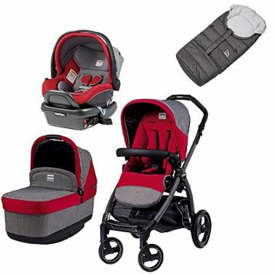 Peg Perego Book Pop Travel Bundle w Primo Viaggio 4/35 Infant Car Seat & Vario Footmuff (Tulip)