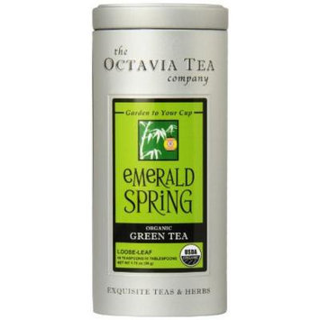 Octavia Tea Emerald Spring (Organic Green Tea) Loose Tea 1.76 Ounce Tin