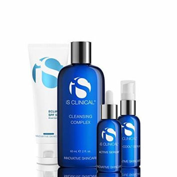 IS Clinical Acne Kit System: Cleansing Complex + Active Serum + Hydra-Cool Serum + Treatment Sunscreen - 4pcs