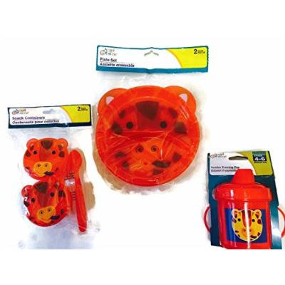 Baby & Toddler Dish Set with Animal Themed Training Cup, Snack Containers, and Plates (Red Giraffe)