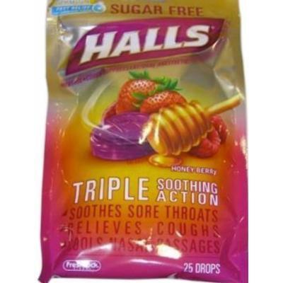 Halls Sugar Free Drops, Honey-Berry 25 Count (2 pack)