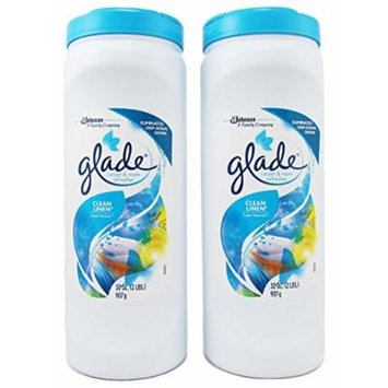 Glade ~ Carpet & Room Refresher 32oz ~ Pack of 2 ~ (Blue - Clean Linen)