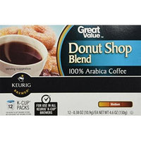 Great Value Donut Shop Blend 100% Arabica Coffee Single-Serving Cups, 0.37 oz, 12 count(Case of 2)