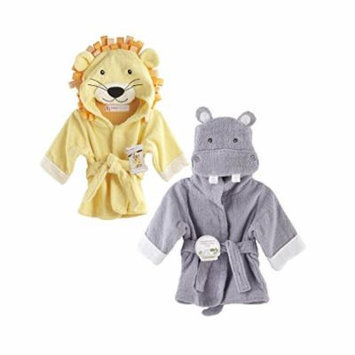 Baby Aspen Terry Cotton Hooded Baby Bath Robe, Twin Pack, Lion/Hippo