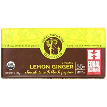 Equal Exchange Organic Lemon Ginger Chocolate With Black Pepper, 2.8 Ounce (Pack of 12)